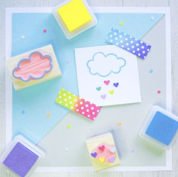 Cloud and Heartdrops set of 2 Rubber Stamps