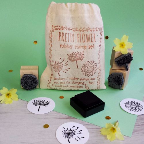 Pretty Flower Rubber Stamp Set