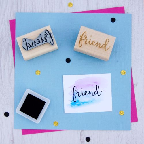 Friend Script Font Rubber Stamp