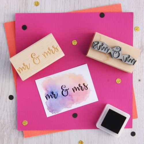 Mr & Mrs Script Font Rubber Stamp