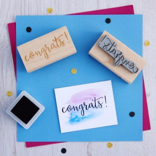 Congrats Script Font Rubber Stamp