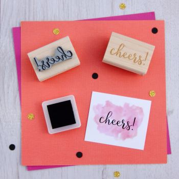 Cheers! Script Font Rubber Stamp