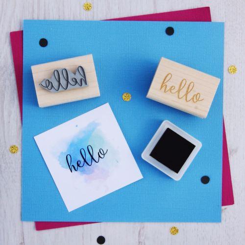Hello Script Font Rubber Stamp