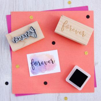 Forever Script Font Rubber Stamp