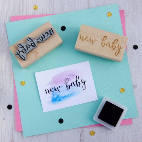 New Baby Script Font Rubber Stamp