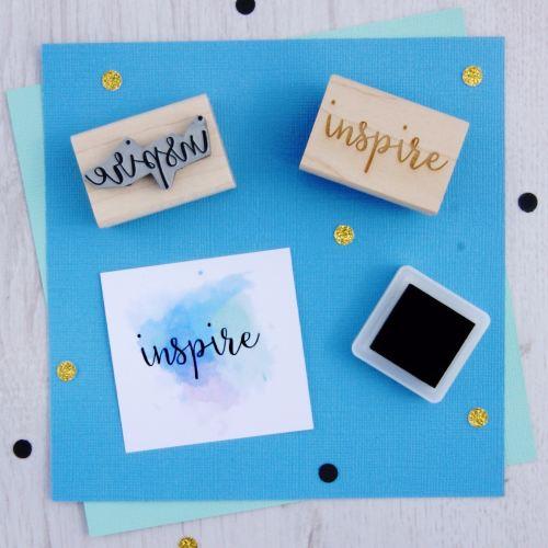 Inspire Script Font Rubber Stamp