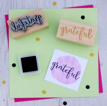 Grateful Script Font Rubber Stamp