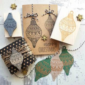 Christmas Drop Patterned Bauble Rubber Stamp