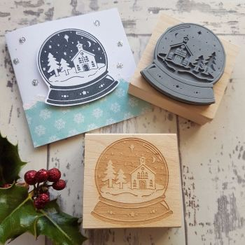 Christmas Snowglobe Rubber Stamp