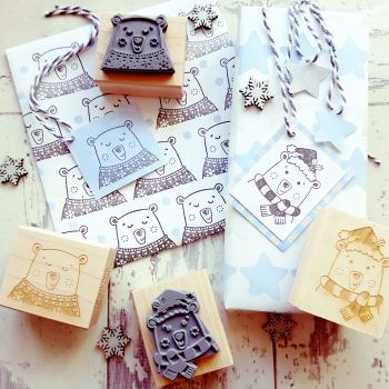 Christmas Polar Bear Rubber Stamp