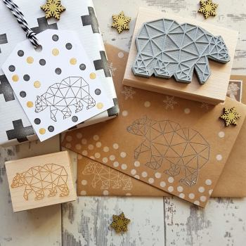 Christmas Geometric Bear Rubber Stamp