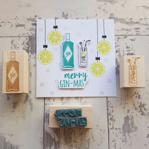 **NEW FOR 2016** Merry Gin-mas Gin Rubber Stamp Set