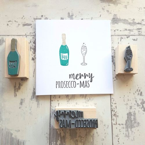 **NEW FOR 2016** Merry Prosecco-mas Prosecco Rubber Stamp Set