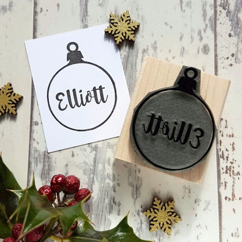 **NEW FOR 2016** Personalised Christmas Bauble Rubber Stamp