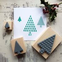 Christmas Geometric Tree Rubber Stamp