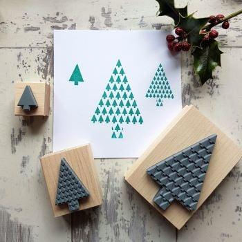 Christmas Geometric Tree Rubber Stamp