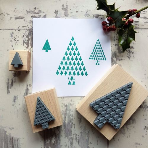**NEW FOR 2016** Christmas Geometric Tree Rubber Stamp