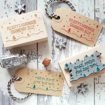 Personalised Christmas Snowy Scene Rubber Stamp
