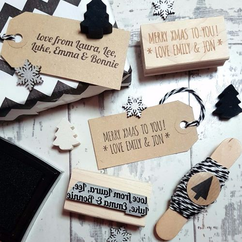 **NEW FOR 2016** Personalised Christmas Message Text Rubber Stamp