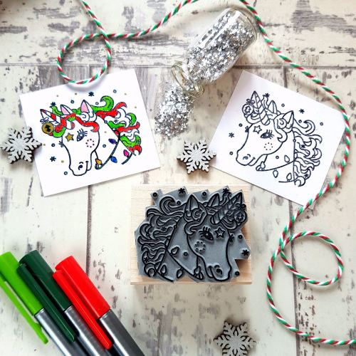 Colour-Me-In Christmas Unicorn Rubber Stamp