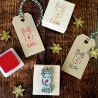 Personalised Christmas Reindeer Rubber Stamp