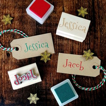 Personalised Christmas Font Name Rubber Stamp