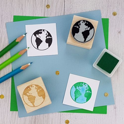 Earth World Globe Rubber Stamp