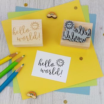 Hello World Rubber Stamp