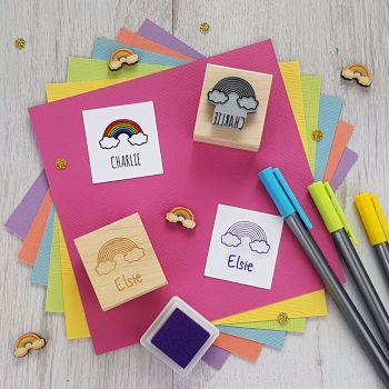 Personalised Children's Rainbow Rubber Stamp