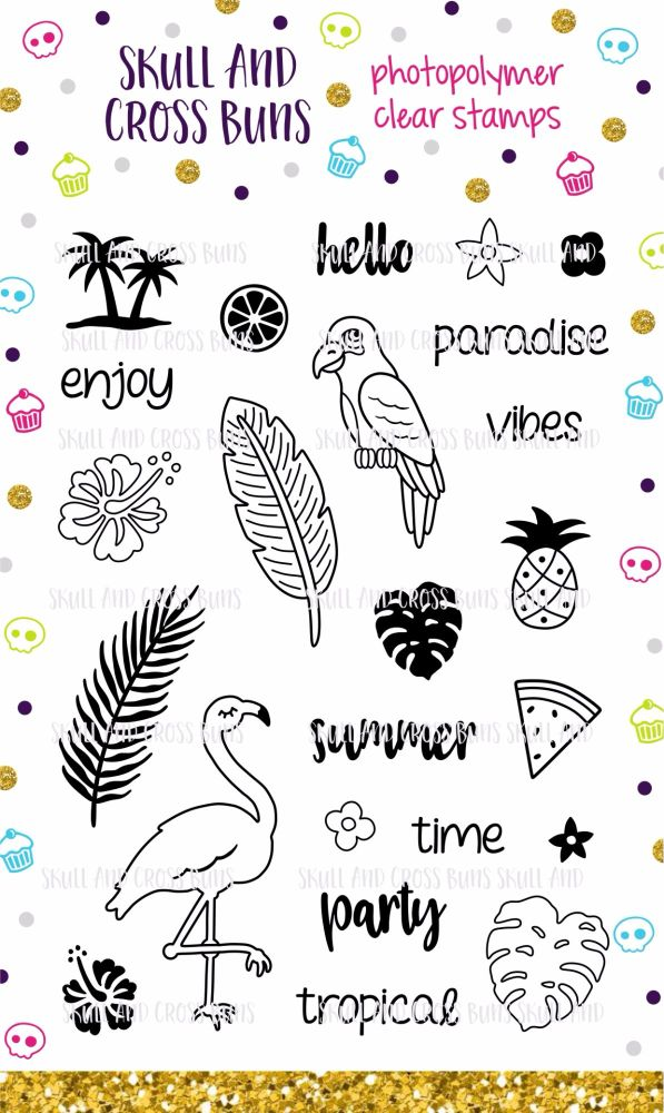 Tropical Rubber Clear Stamp Set