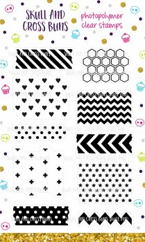 Washi Patterns Clear Rubber Stamp Set