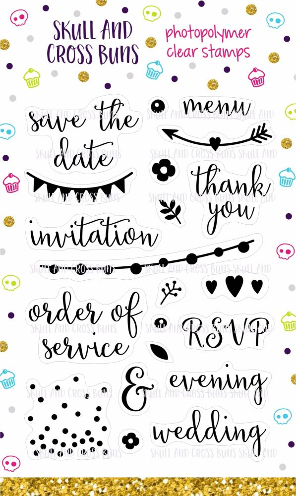 Modern Wedding Clear Rubber Stamp Set