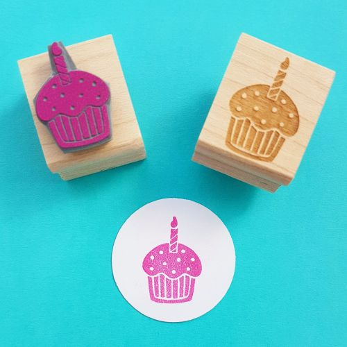Birthday Cupcake Hand Carved Rubber Stamp
