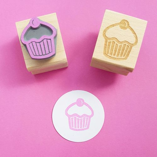 Cherry Cupcake Hand Carved Rubber Stamp