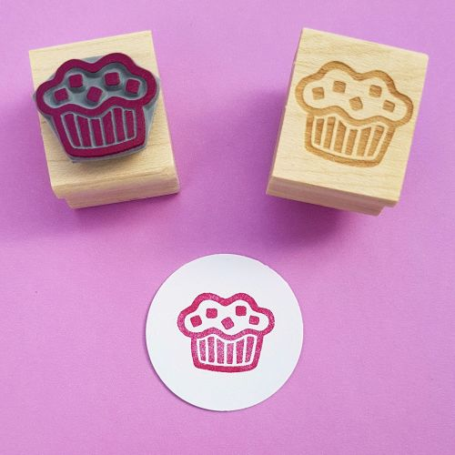 Chunky Choc Muffin Hand carved Rubber Stamp