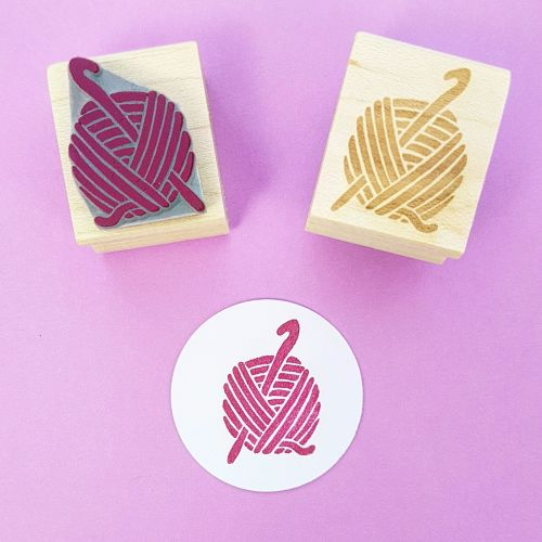 Crochet Hand Carved Rubber Stamp