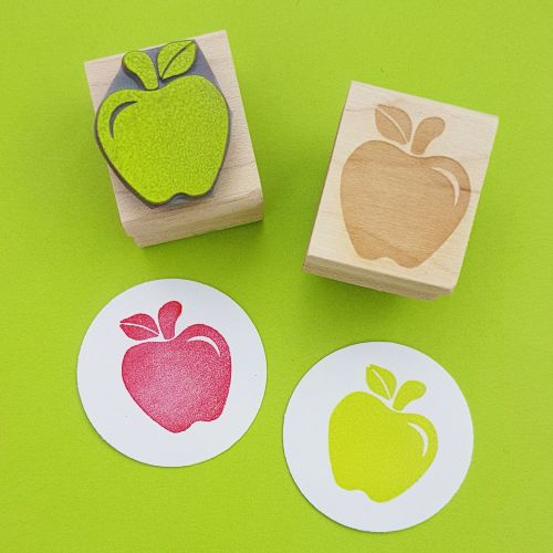Crunchy Apple Hand Carved Rubber Stamp