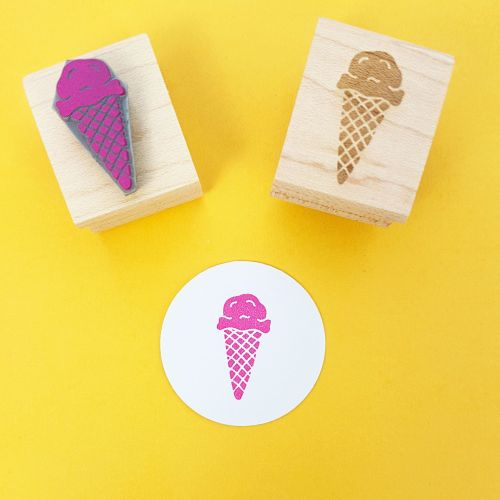 Delicious Ice Cream Hand Carved Rubber Stamp