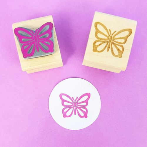 Fluttery Butterfly Hand Carved Rubber Stamp