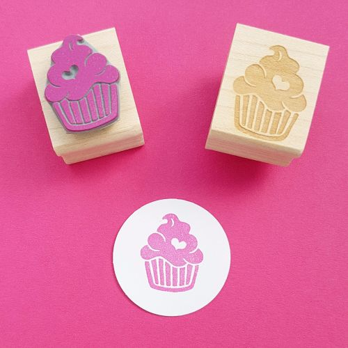 Iced Cupcake with Heart Hand Carved Rubber Stamp