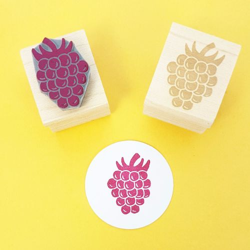 Juicy Raspberry Hand Carved Rubber Stamp
