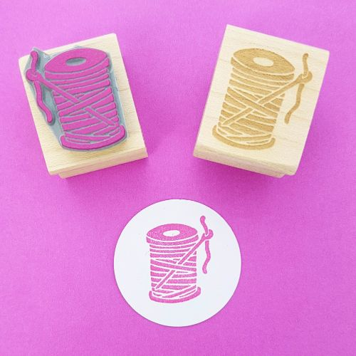 Needle and Thread Hand Carved Rubber Stamp