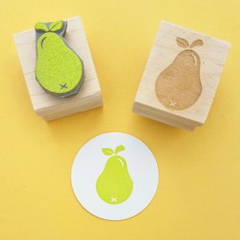 Small Pear Rubber Stamp