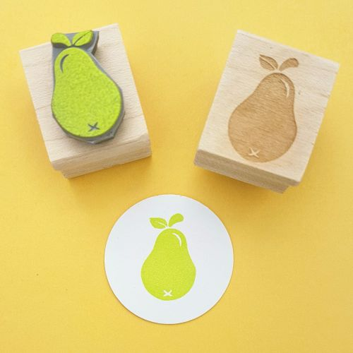 Small Pear Hand Carved Rubber Stamp