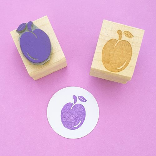 Ripe Plum Hand Carved Rubber Stamp