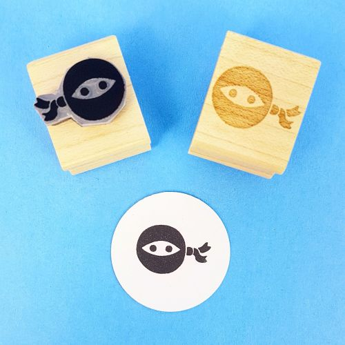 Tiny Ninja Hand carved Rubber Stamp