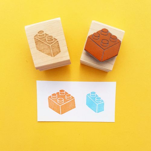 Building Bricks Hand Carved Rubber Stamps