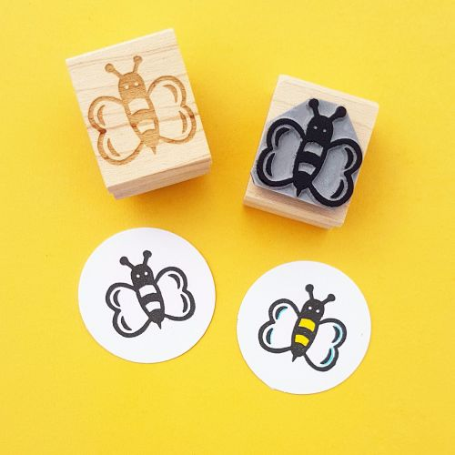Buzzing Bee Hand Carved Rubber Stamp