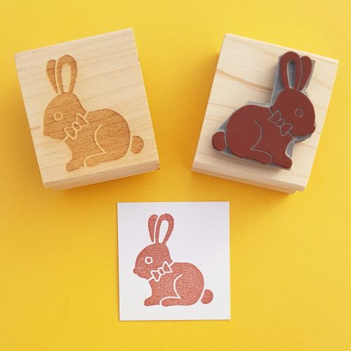 Chocolate Bunny Hand Carved Rubber Stamp