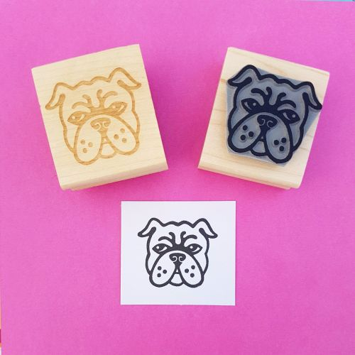 English Bulldog Hand Carved Rubber Stamp
